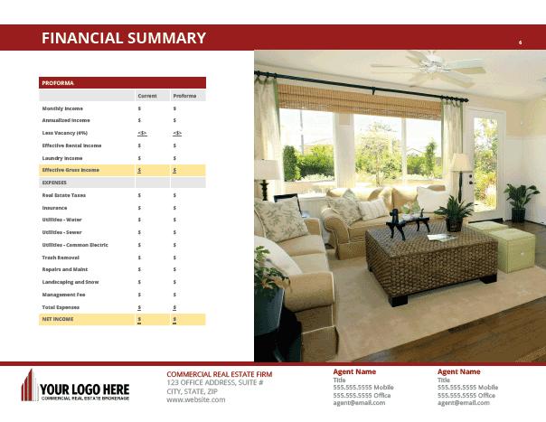 Multi-family Brochure Offering Memorandum Template - Commercial Real Estate