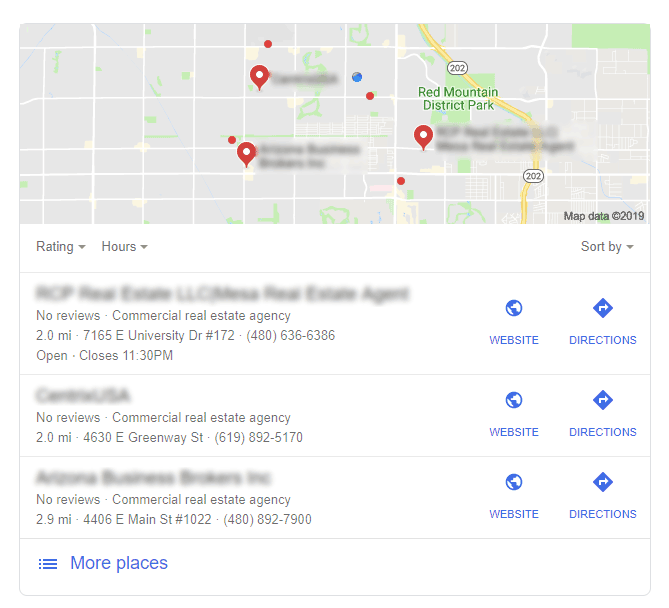 Google Near Me Listings Screenshot