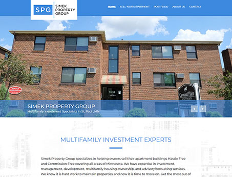 Screenshot of the Simek Property Group Website